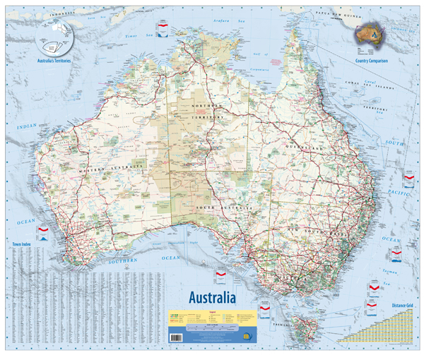 Australia Wall Map Flat Meridian Maps Books Travel Guides - Where to buy maps